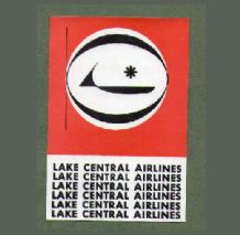 Vintage Airline luggage label Lake central Airline ##198